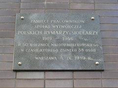 Tablica upamiętniająca pracowników Polskich Rymarzy iSiodlarzy
