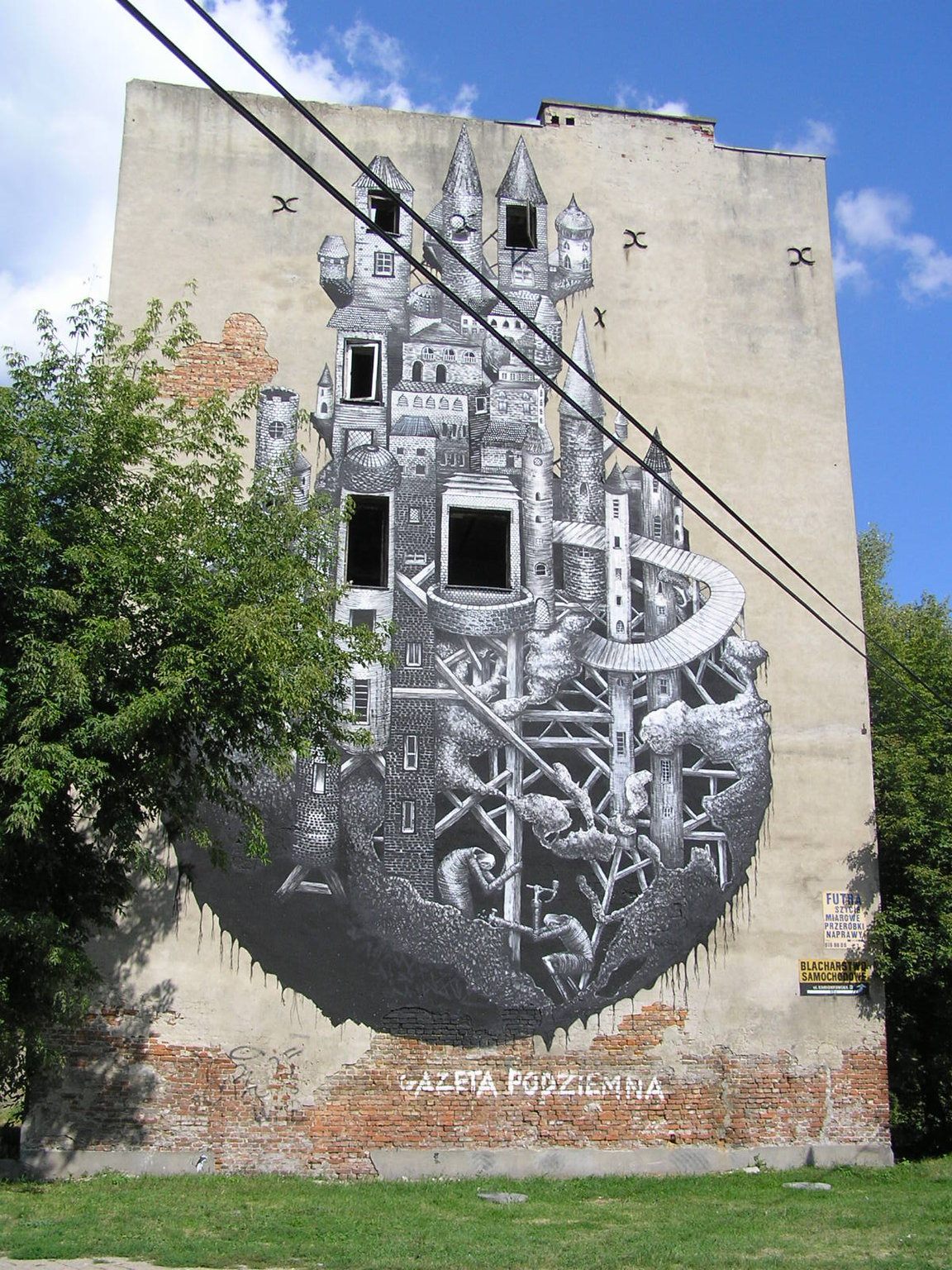 Mural Zamek przy Mińskej 12 wWarszawie