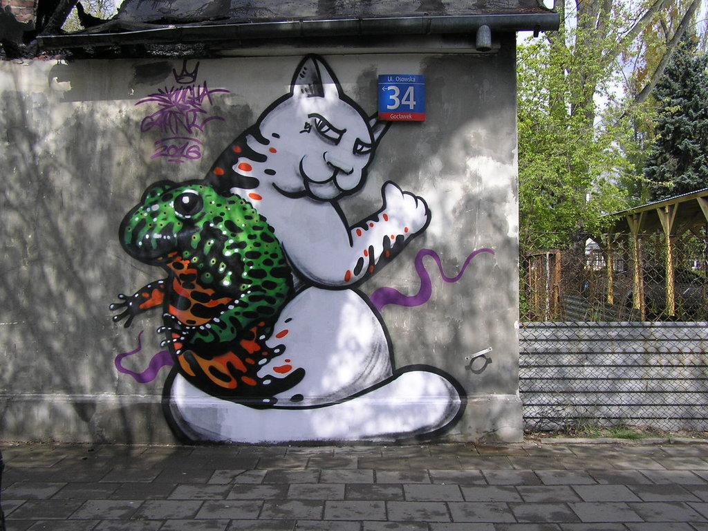 Mural przy Osowskiej 34 wWarszawie