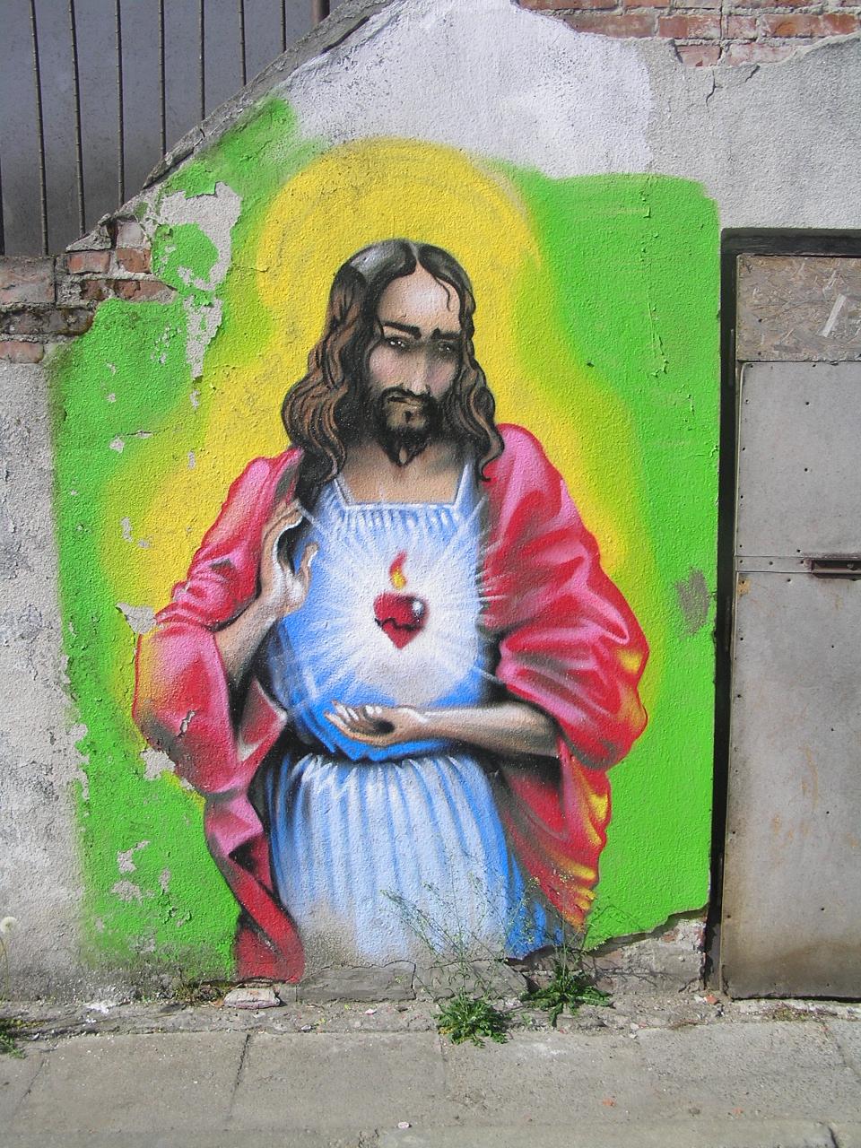 Mural Jezus przy Targowej 18