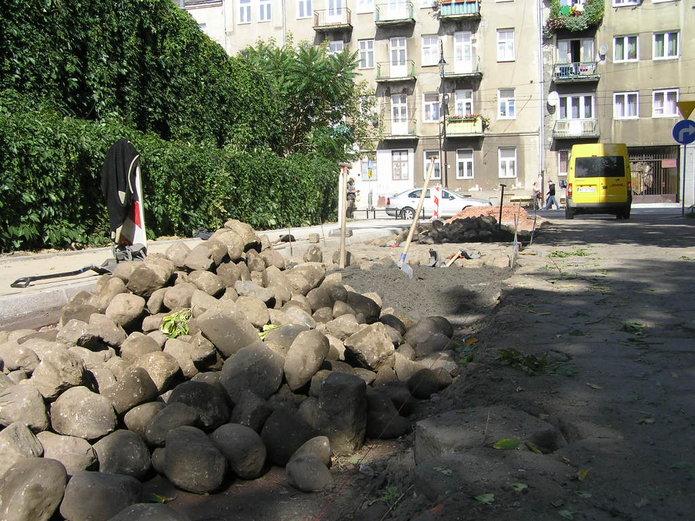 Ulica Wojnicka wczasie prowadzonych prac