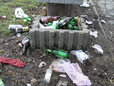 Śmieci przy jeziorku Gocławskim