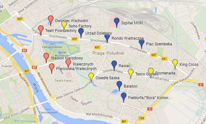 Mapa zpropozycjami nowych stracji, fot. Mapy Google
