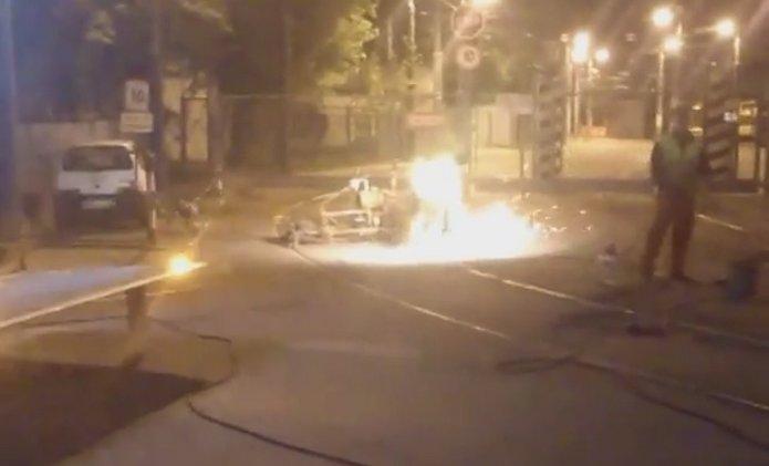 Kawęczyńska - Naprawa szyn tramwajowych nocą