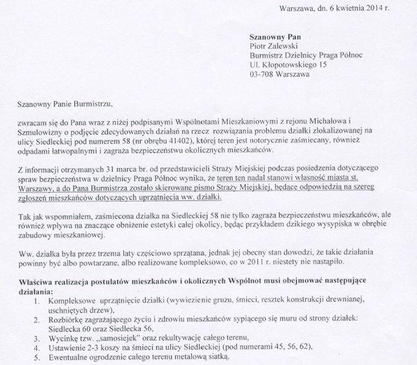 Pismo do burmistrza Pragi Północ