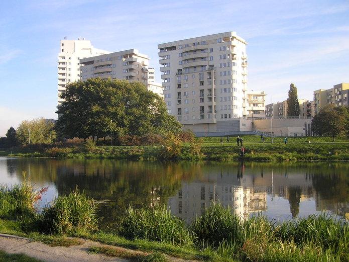 Widok na jeziorko Gocławskie w2013 roku