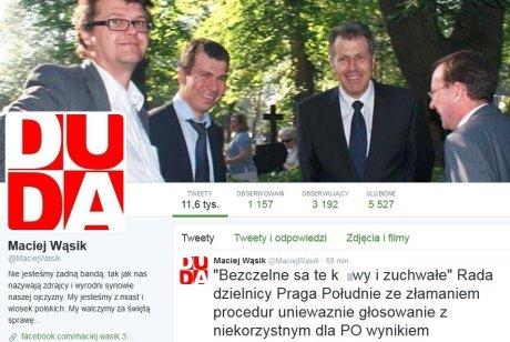 Profil mazowieckiego radnego PiS Macieja Wąsika na Twitterze Fot. Twitter