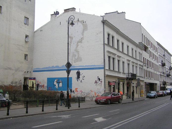 Mural izniszczona vlepka na Ząbkowskiej 3