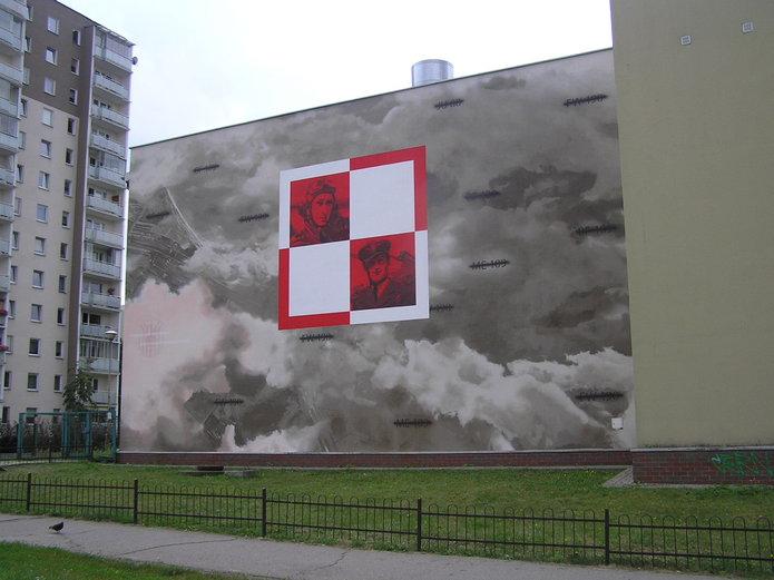 Mural zasami lotnictwa na Gocławiu