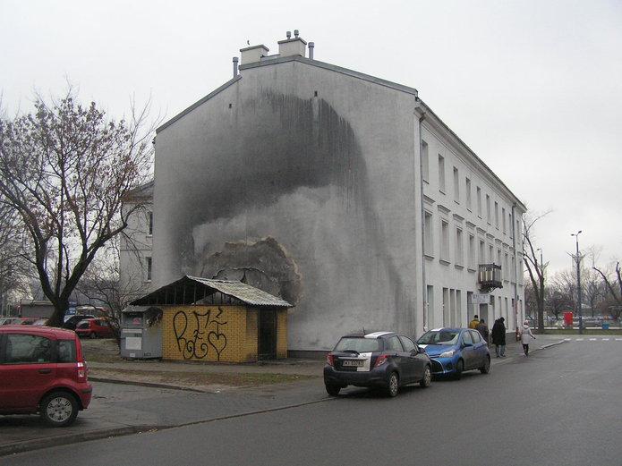 Ściana na Skaryszewskiej 2 po pożarze