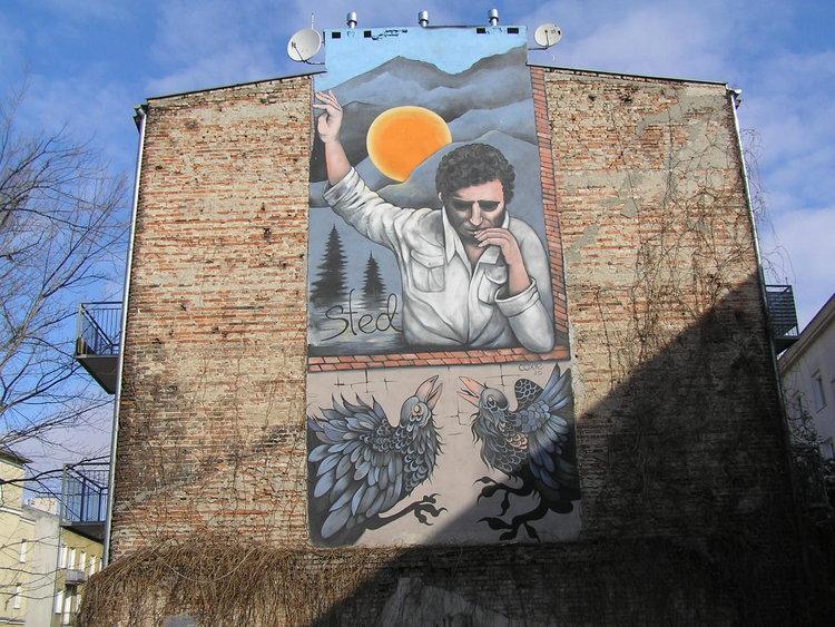 Mural Edward Stachura przy Rębkowskiej 4 wWarszawie
