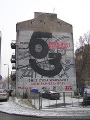 Mural - 63 dni zżycia Warszawy