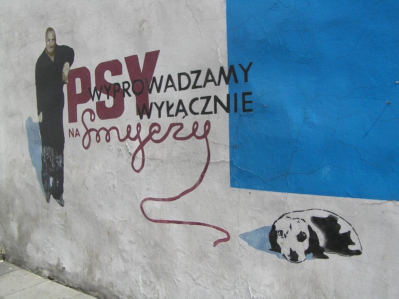 Mural Psy wyprowadzamy wyłącznie na smyczy